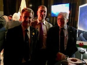 Draig Werdd committee members Andrew Thomas and Geraint Waters with Lord Dafydd Elis Thomas.