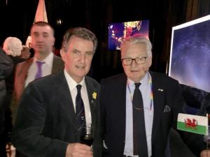 Draig Werdd committee member Geraint Waters with Lord Dafydd Elis Thomas.