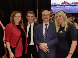 Draig Werdd committee member Geraint Waters with the British Ambassador Robin Barnett and Kathryn Hallett and Leanne Richards of the Welsh Government office in Ireland